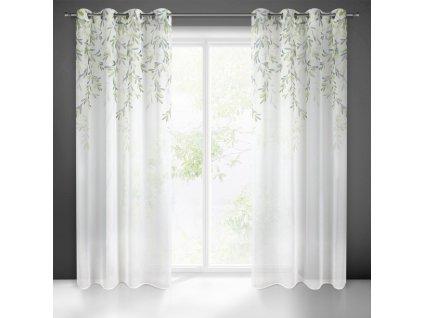 Dekorační vzorovaná záclona FRIDA II. bílá/zelená 140x250 cm (cena za 1 kus) MyBestHome