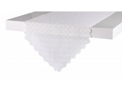 Ubrus - běhoun na stůl DELICATE motiv B, 35x180 cm, bílá, ESSEX