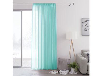Dekorační záclona s řasící páskou VALIKA tyrkysová 140x250 cm (cena za 1 kus) MyBestHome