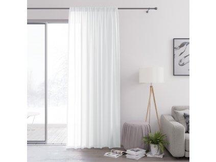 Dekorační záclona s řasící páskou VALIKA bílá 140x250 cm (cena za 1 kus) MyBestHome