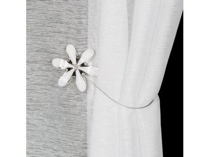 Dekorační ozdobná spona na závěsy s magnetem PEGGY bílá, Ø 7 cm Mybesthome