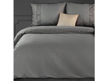 Povlečení LACE šedá 100% saténová bavlna 1x 200x220 cm, 2x povlak 70x80 cm francouzské povlečení MyBestHome