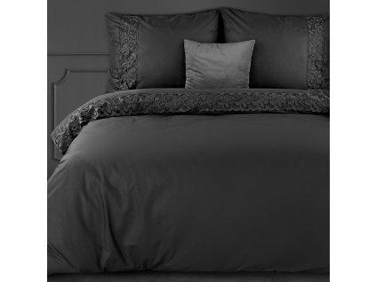 Povlečení LACE černá 100% saténová bavlna 1x 200x220 cm, 2x povlak 70x80 cm francouzské povlečení MyBestHome