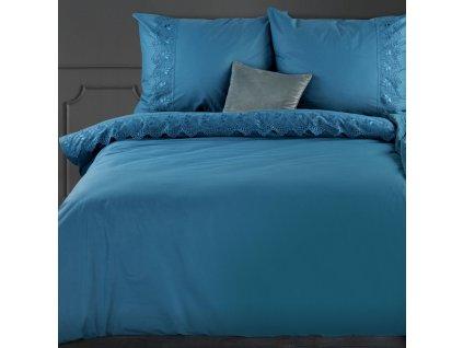 Povlečení LACE modrá 100% saténová bavlna 1x 200x220 cm, 2x povlak 70x80 cm francouzské povlečení MyBestHome
