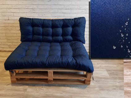 Paletové prošívané sezení DENIM PIETRO SET - sedák 120x80 cm, opěrka 120x40 cm, barva modrá, Mybesthome