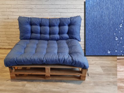 Paletové prošívané sezení DENIM PIETRO SET - sedák 120x80 cm, opěrka 120x40 cm, barva světle modrá, Mybesthome