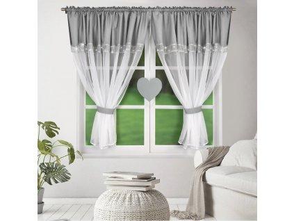 Dekorační záclona KALINA bílá/světle šedá 400x145 cm MyBestHome