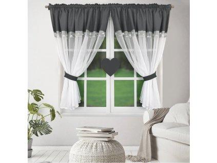 Dekorační záclona KALINA bílá/tmavě šedá 400x145 cm MyBestHome