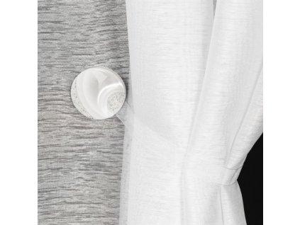 Dekorační ozdobná spona na závěsy s magnetem MARLENA bílá, Ø 4 cm Mybesthome