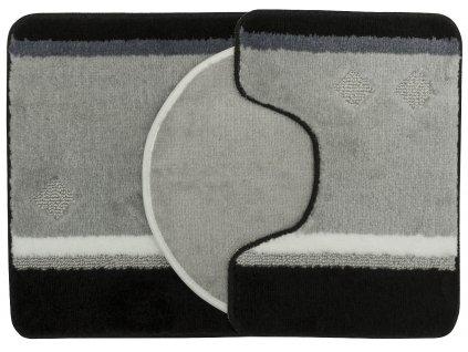 Koupelnová + WC předložka - sada 3 ks GOTHA šedá/černá 50x70 cm, 40x50 cm, 47x51 cm MultiDecor