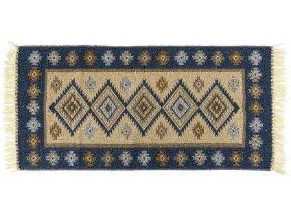 Kusový oboustranný vzorovaný koberec KILIM - ROMBY modrá více rozměrů MultidecorA