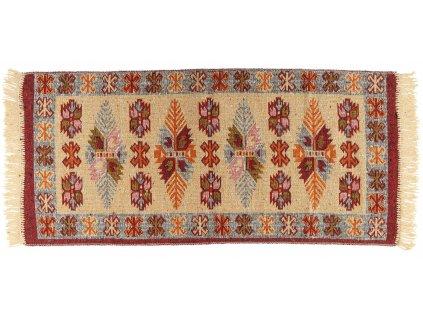 Kusový oboustranný vzorovaný koberec KILIM - LEAVES vínová více rozměrů Multidecorl