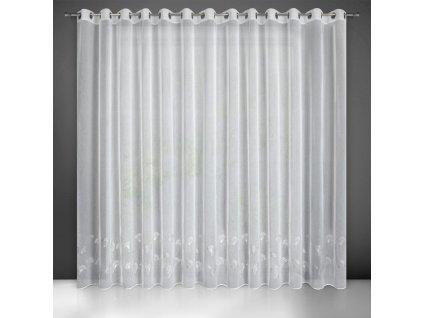 Dekorační vzorovaná záclona s kroužky KARLA stříbrný potisk 300x250 cm MyBestHome