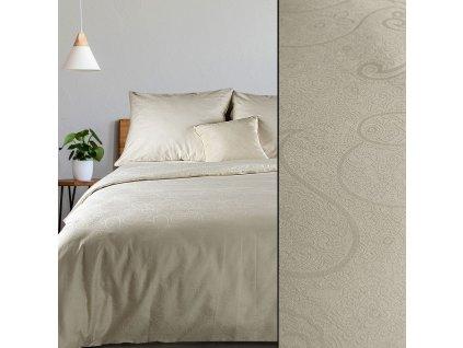 Povlečení DAMASCHEK 100% bavlna - damašek, krémová, 1x 200x220 cm, 2x povlak 70x80 cm francouzské povlečení MyBestHome