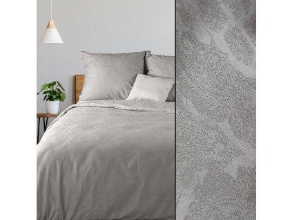 Povlečení DAMASCHEK 100% bavlna - damašek, šedá, 1x 200x220 cm, 2x povlak 70x80 cm francouzské povlečení MyBestHome