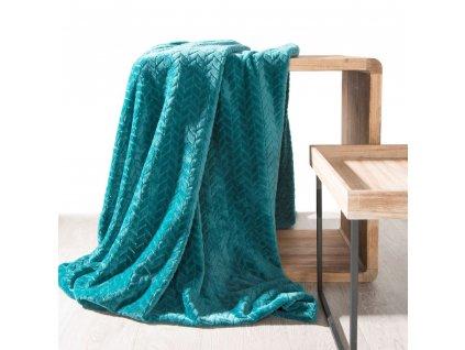 Přehoz na pohovku - deka z mikrovlákna SOFIA 220x200 cm tyrkysová Mybesthome