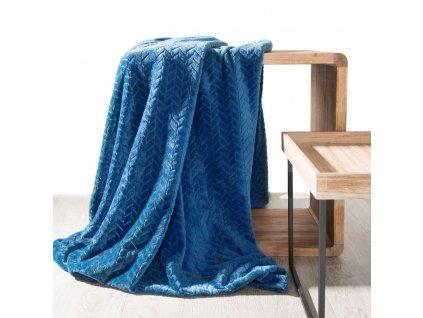 Přehoz na pohovku - deka z mikrovlákna SOFIA 220x200 cm modrá Mybesthome