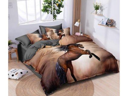 Povlečení 3D HORSE francouzské povlečení, 1x 200x220 cm, 2x povlak 70x80 cm MyBestHome