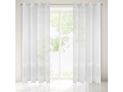 Dekorační vzorovaná záclona s kroužky CURLY bílá 140x250 cm (cena za 1 kus) MyBestHome