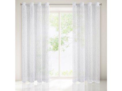 Dekorační vzorovaná záclona s kroužky HEATHER bílá 140x250 cm (cena za 1 kus) MyBestHome