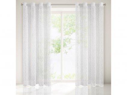 Dekorační vzorovaná záclona s kroužky HEATHER světlá krémová 140x250 cm MyBestHome
