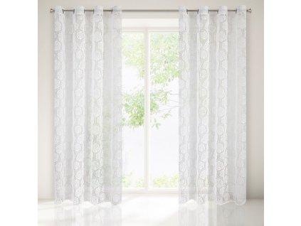 Dekorační vzorovaná záclona s kroužky LARISA světlá krémová 140x250 cm (cena za 1 kus) MyBestHome