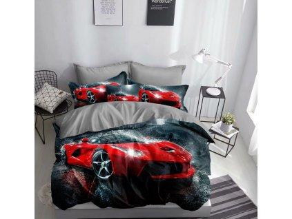 Povlečení RED CAR 3D 1x 140x200 cm, 2x povlak 70x80 cm MyBestHome