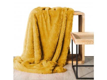 Deka - přehoz na pohovku z mikrovlákna TERCA 200x220 cm mustard/hořčicová Mybesthome
