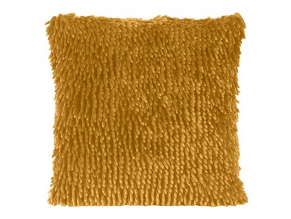 Polštář SHAGGY s hustým vlasem, mustard/hořčicová, 40x40 cm Mybesthome