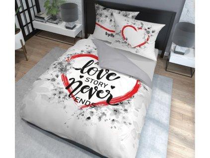 Povlečení TRUE LOVE 100% saténová bavlna 1x 200x220 cm, 2x povlak 70x80 cm francouzské povlečení MyBestHome