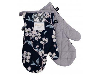 Kuchyňské bavlněné rukavice - chňapky FLORETTE růžová, 100% bavlna 19x30 cm Essex