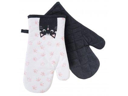 Kuchyňské bavlněné rukavice - chňapky ANIMALS kočičí motiv 100% bavlna 19x30 cm Essex