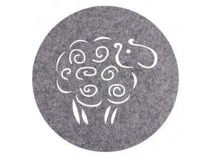Prostírání BERÁNEK šedá Ø 30 cm Mybesthome