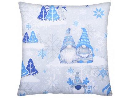 Bavlněný polštář 030 VÁNOČNÍ SKŘÍTCI šedá/modrá 40x40 cm, Mybesthome