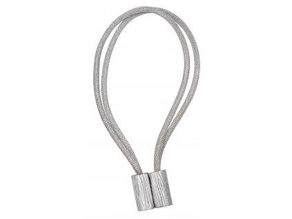 Dekorační ozdobná šňůra na závěsy s magnetem GIBSON, stříbrná 46 cm Mybesthome