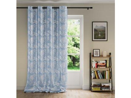 Dekorační velvet závěs LEAVES 140x245 cm modrá (cena za 1 kus) MyBestHome