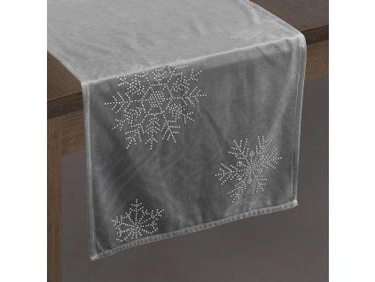 Ubrus - běhoun na stůl NORTH šedá 40x140 cm VELVET mikrovlákno Mybesthome