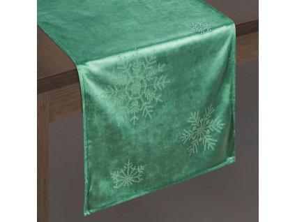 Ubrus - běhoun na stůl NORTH zelená 40x140 cm VELVET mikrovlákno Mybesthome