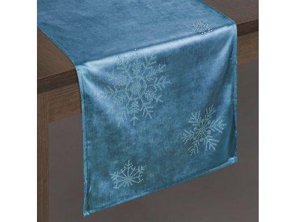 Ubrus - běhoun na stůl NORTH modrá 40x140 cm VELVET mikrovlákno Mybesthome