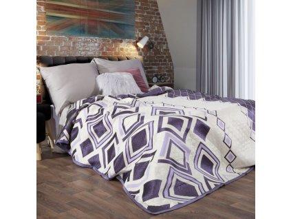 Přehoz na postel FEDDE 220x240 cm krémová/fialová Mybesthome