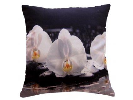 Polštář ORCHIDEJE  40x40cm fototisk 3D motiv s bílými orchidejemi MyBestHome