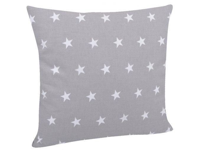 Bavlněný polštář HVĚZDY šedá/bílá 40x40 cm, Mybesthome