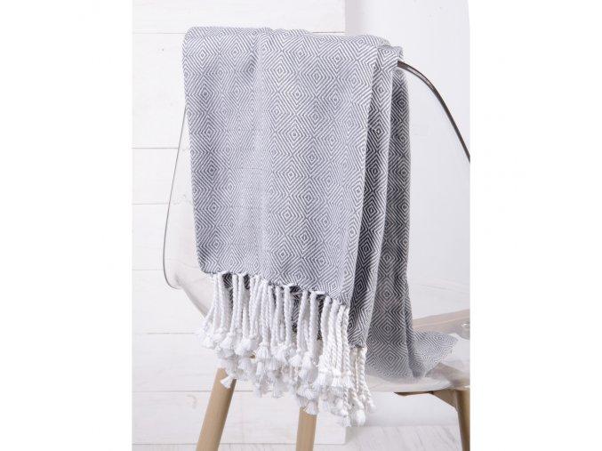 Bavlněný pléd - deka ze 100% bavlny ZIGGY šedá 130x170 cm Essex
