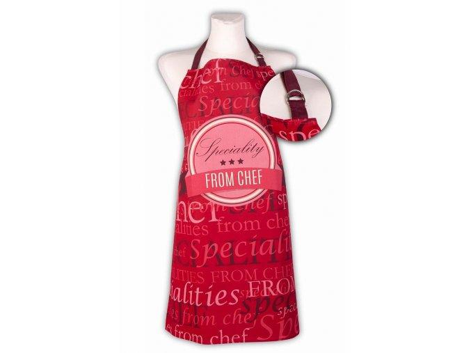 Kuchyňská bavlněná zástěra SPECIALITIES, červená, Essex, 100% bavlna