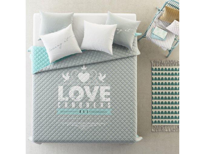 Přehoz na postel LOVE 220x240 cm béžová Mybesthome