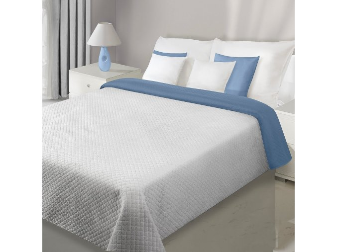 Přehoz na postel VELVET 220x240 cm šedá/modrá Mybesthome