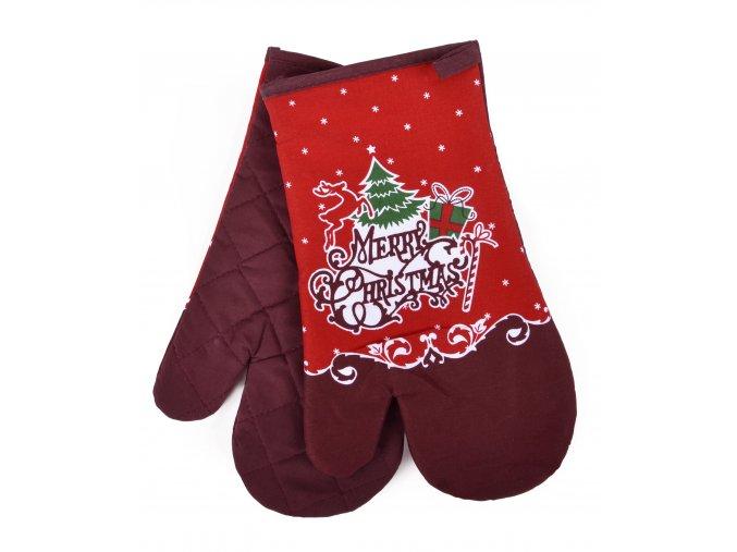 Kuchyňské rukavice chňapky MERRY CHRISTMAS, červená 18x30 cm Essex