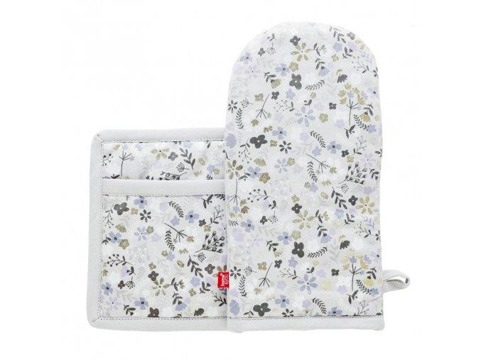 Kuchyňský set rukavice/chňapka BLUMS, 14x30 cm/20X20 cm HOME & YOU, 100% bavlna