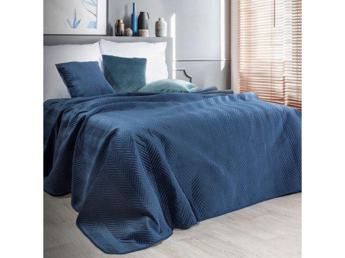 Přehoz na postel SOPHIA 200x220 cm tmavě modrá Mybesthome