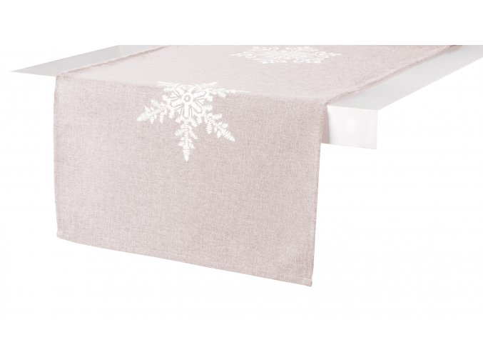 Ubrus - běhoun na stůl SNOW FLAKE, 35x170 cm, béžová, ESSEX